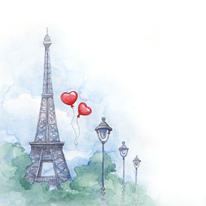 Watercolor painting of the Eiffel Tower rising above green trees and 3 street lights.  Two red heart balloons float in the air.