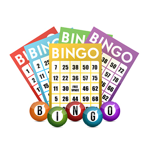 5 different Bingo cards are fanned out on a white background.  Circles below the cards spell out BINGO.