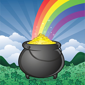 An illustrated pot of gold sits in a field of clovers. A rainbow extends out from the top of the pot of gold.