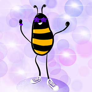 Illustrated bee wearing shoes and star glasses smiles on a light purple bubble background.