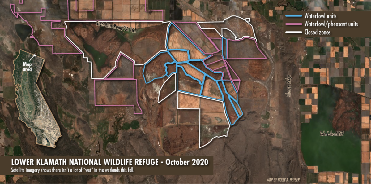 October 2020 satellite imagery of the Lower Klamath National Wildlife Refuge revealed a wetland with precious little water.