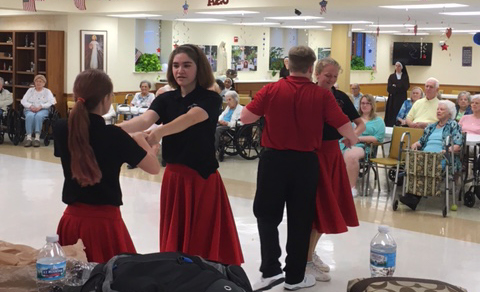 Bishop Dubourg Highschool swing dancing for residents
