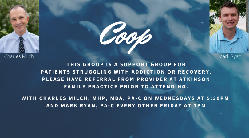 Coop groups are for patients suffering from addiction or addiction recovery.  Online groups meeting weekly (Wed at 5:45pm) or bi-weekly (Fri at 1pm).