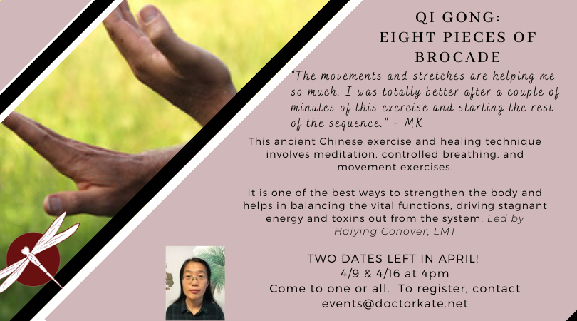 Two more dates left in April for QiGong!  April 9 and 16 for this gentle exercise class.  Both dates at 4pm.