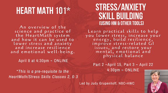 HM 101 class with Judy Grupenhoff on April 8 at 4:30pm