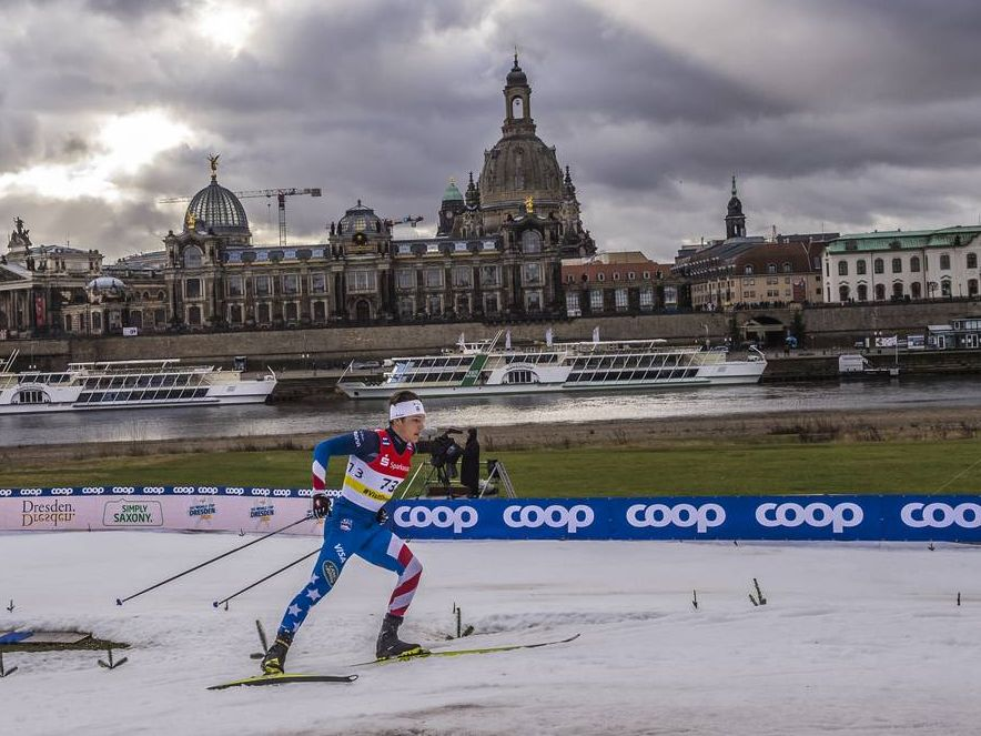 JC Schoonmaker skiing in Dresden, Germany at First World Cup 2020.