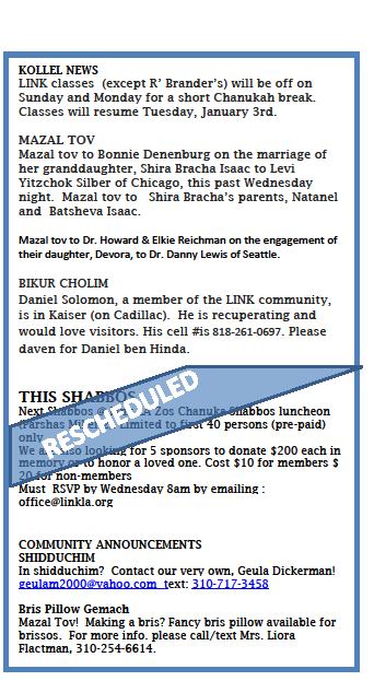 Shabbos Schedule & Thank you!!!