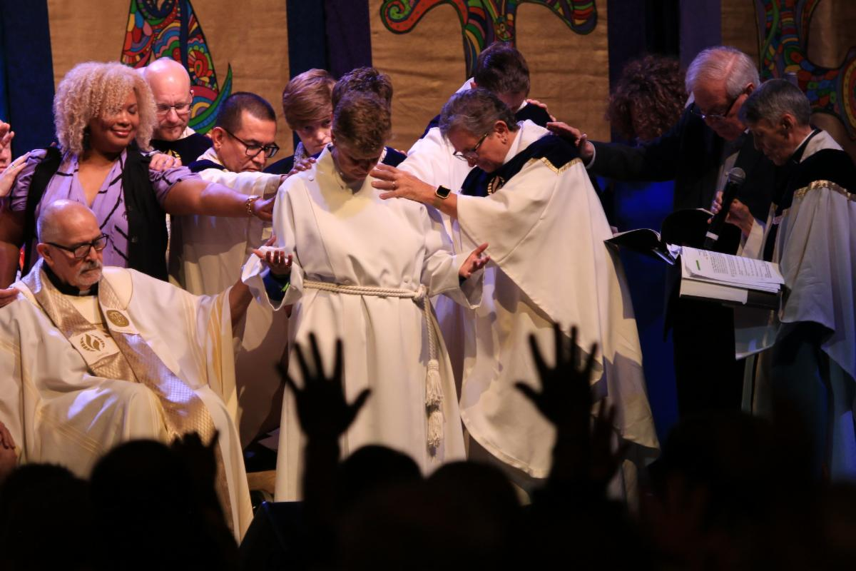 Rev. Elder Cecilia Eggleston is blessed with prayer during the Moderator Installation.