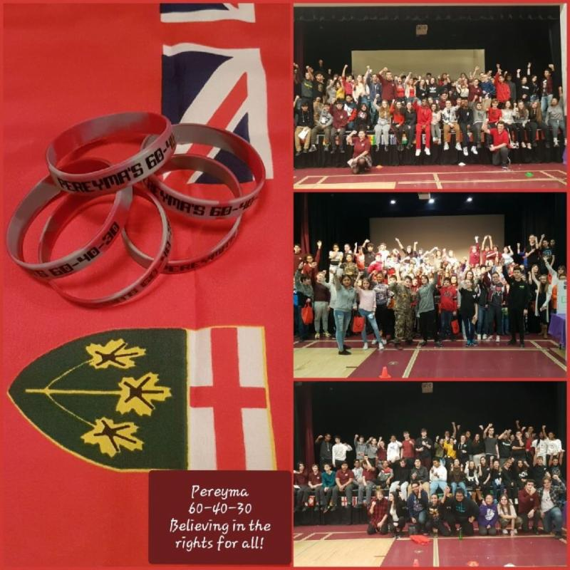 Ontario flag with Pereyma bracelets laying on it and three pictures of groups of students