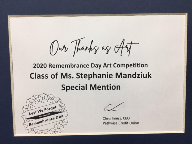 Certificate for Remembrance Day art