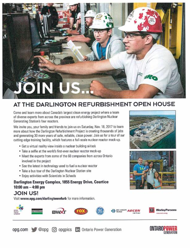 Promotional flyer inviting people to the Darlington Refurbishment Open House on November 18, 2017.