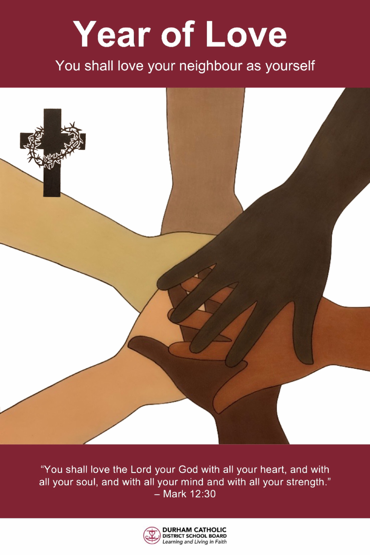 Six different coloured hands together in a circle with a cross and crown of thorns in the corner