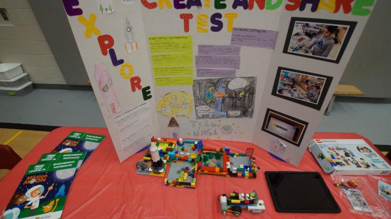 Lego project on display on a table