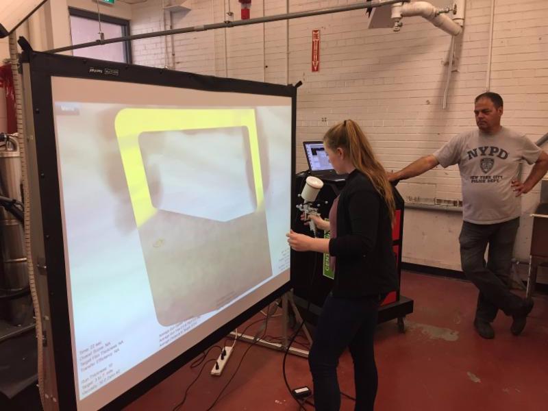 Female student testing a simulation