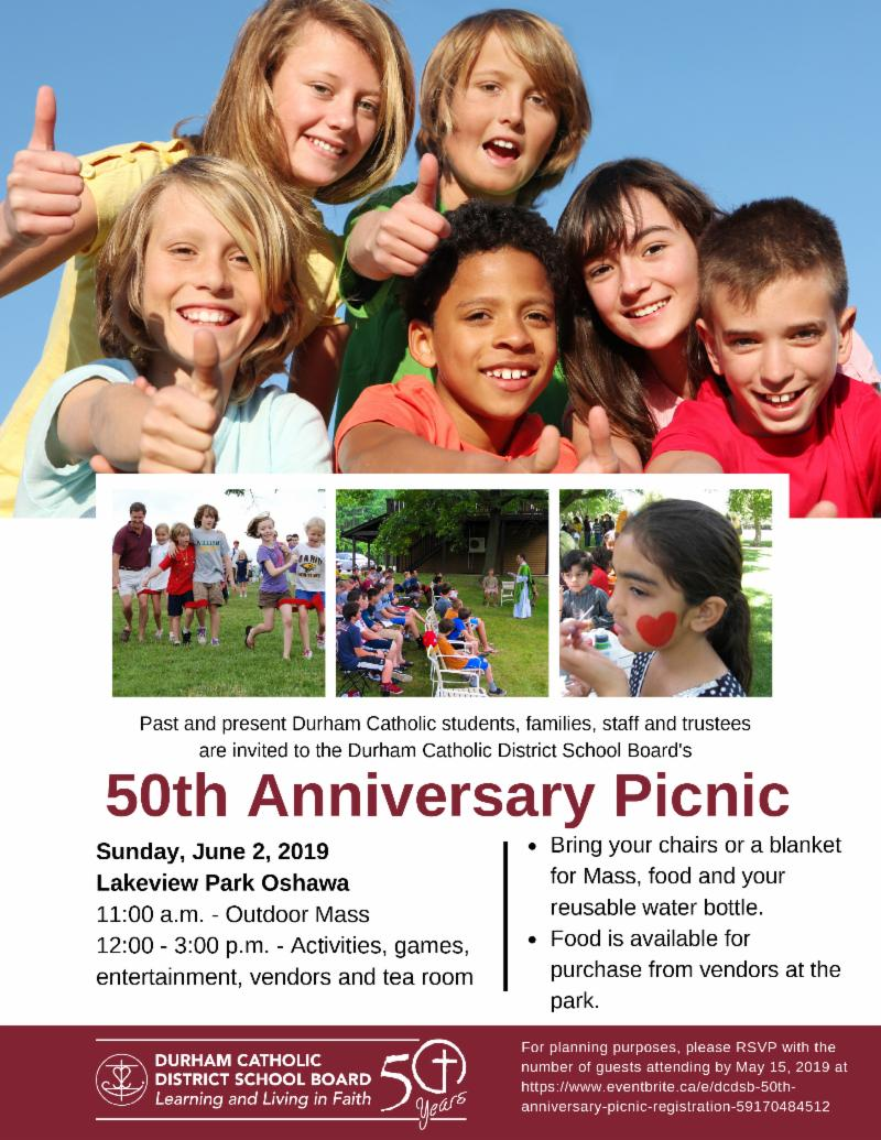 Picnic flyer promoting activities happening on Sunday, June 2 for the board's 50th anniversary