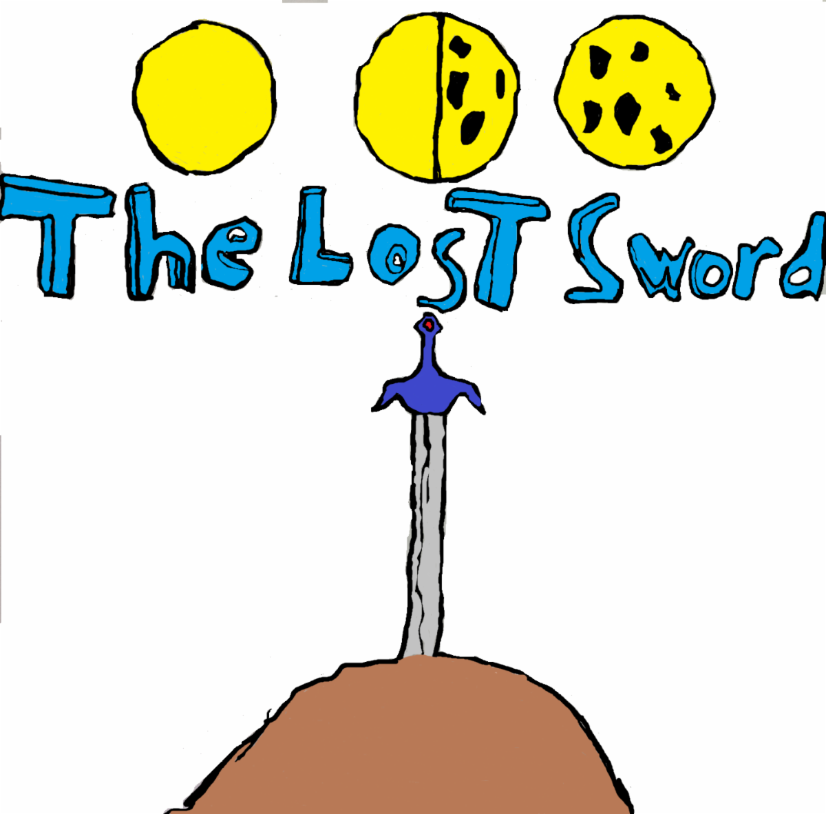 Cartoon drawing of sword in a stone