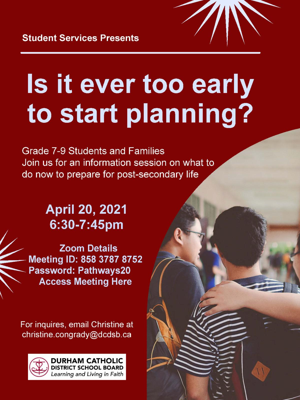 Poster promoting Is It Ever Too Early To Start Planning?