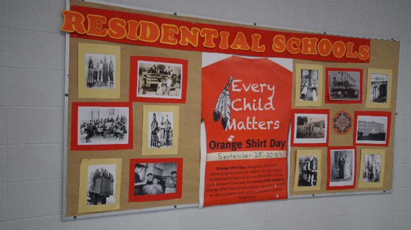 Bulletin board in a high school that promotes Indigenous Education. Currently the board is highlight Orange Shirt day and residential schools.