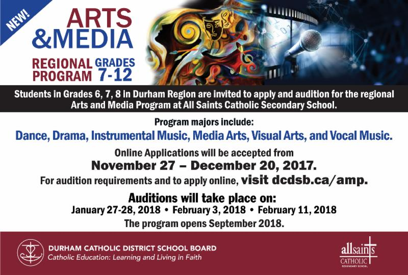 Ad promoting online applications and audition dates for the new Regional Arts and Media Program