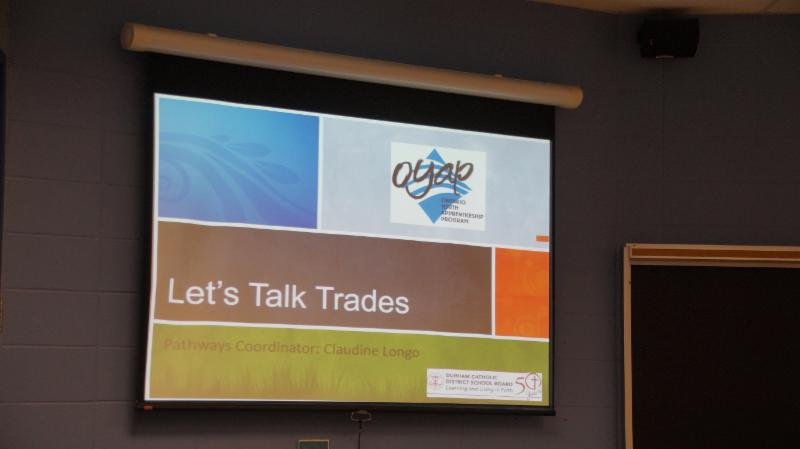 Let's Talk Trades slide with OYAP logo and Durham Catholic District School Board's logo