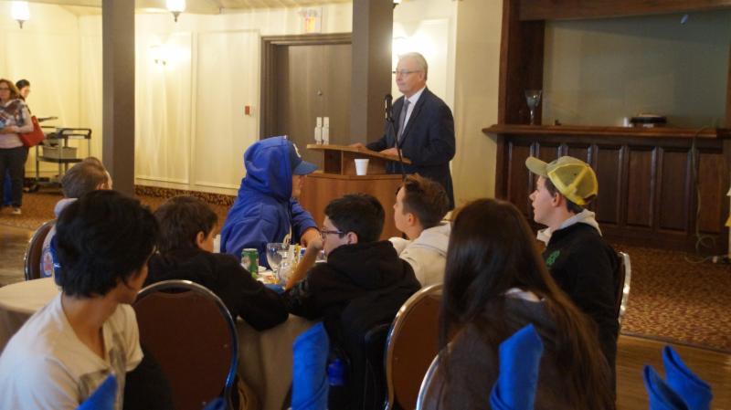 His Worship, John Henry Mayor of the City of Oshawa speaking to students