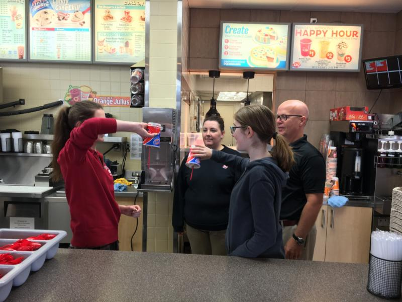 Students learn how to make a blizzard at Dairy Queen
