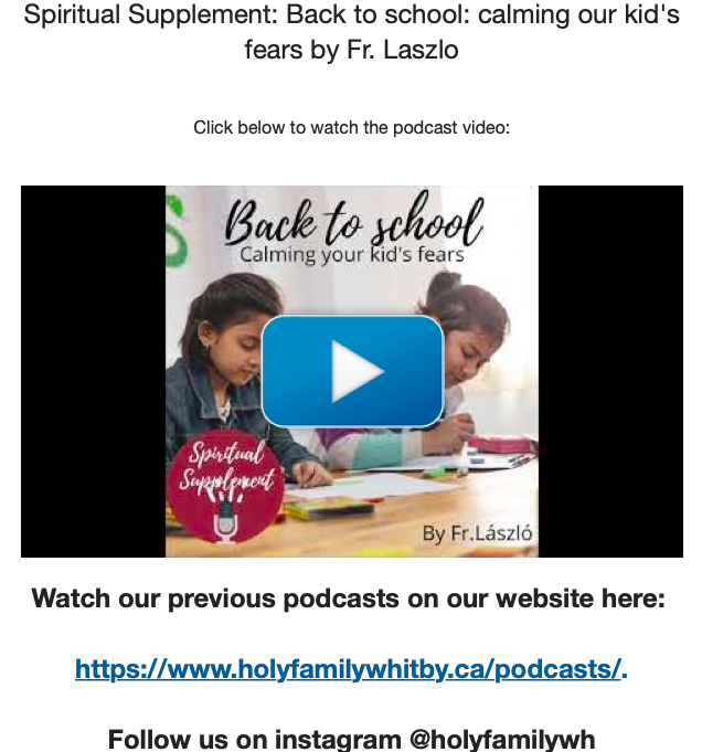 Screenshot of podcast from Holy Family Parish website