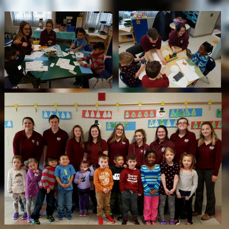 Monsignor John Pereyma Cooperative Education students in a Kindergarten classroom at St. John Bosco Catholic School
