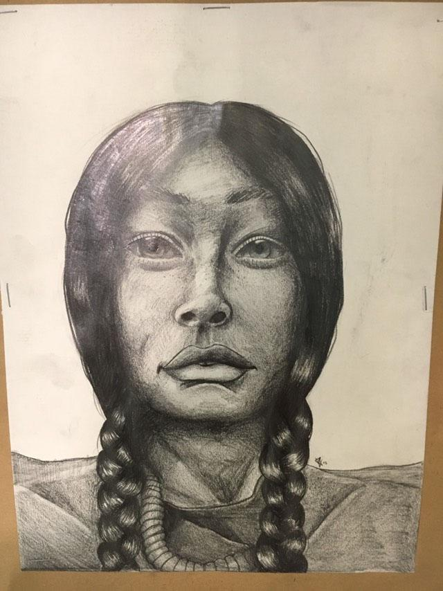 Drawing of an Indigenous woman and hero
