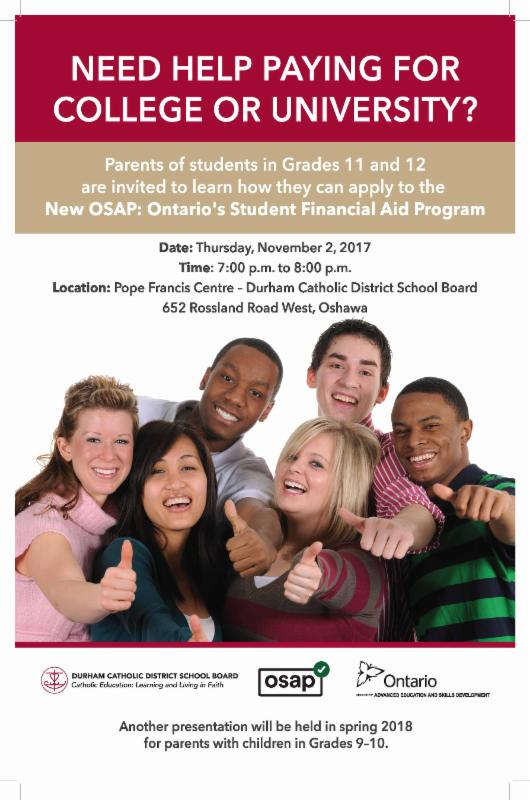 Flyer inviting parents of Grade 11 and 12 students to learn how they can apply to Ontario's Student Financial Aid Program.