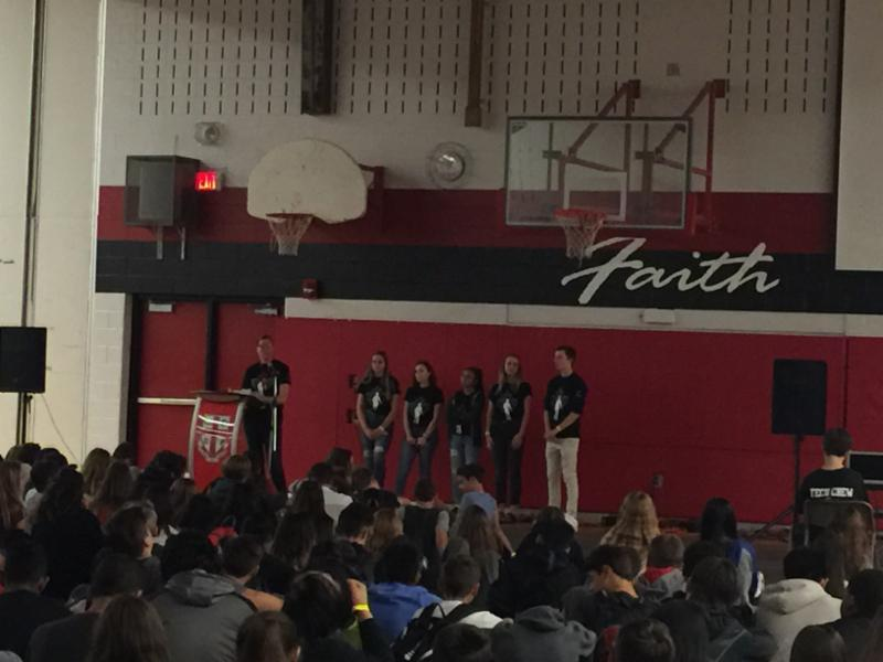 Student talking to the school community during Terry Fox Assembly