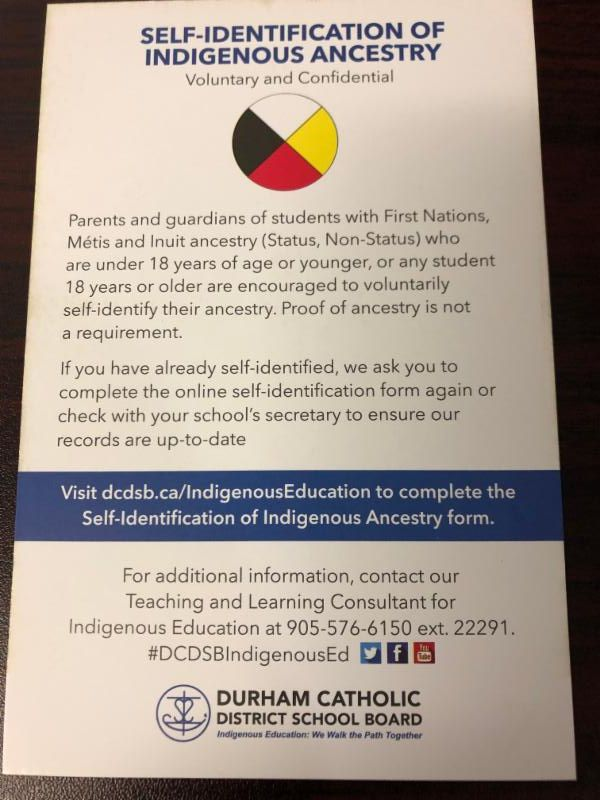 Self-identification of indigenous ancestry postcard