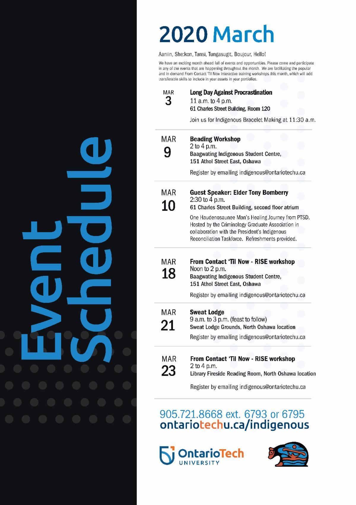 Indigenous event schedule for Ontario Tech University