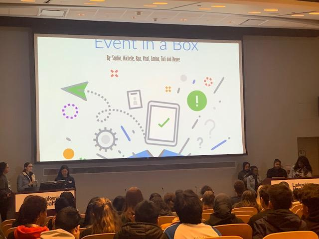 Student presenting their ideas for the hospital foundation's Event in a Box kit