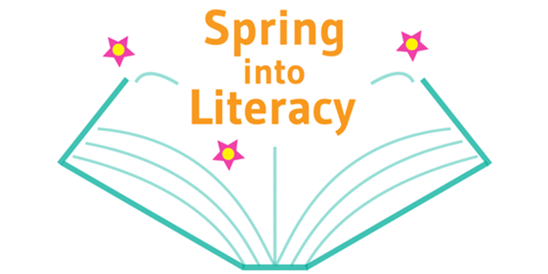 Book with words Spring into Literacy