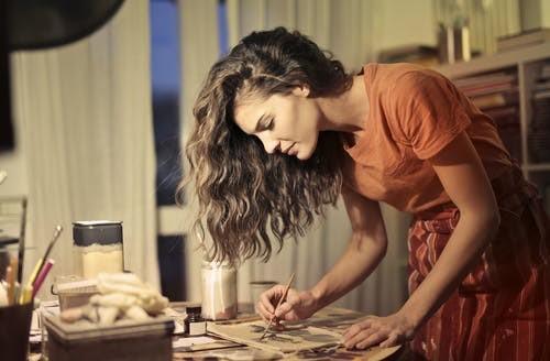 Female adult painting