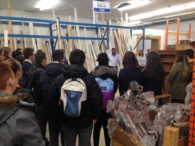 Students touring the Habitat for Humanity Re-Store