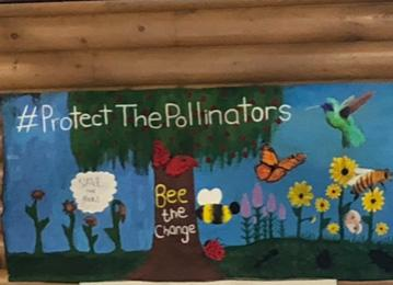 Banner with pollinator garden images of birds, bees, butterflies and flowers.