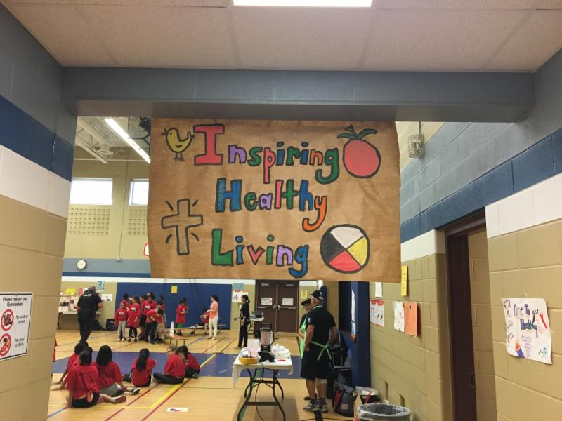 Sign that reads Inspiring Healthy Living