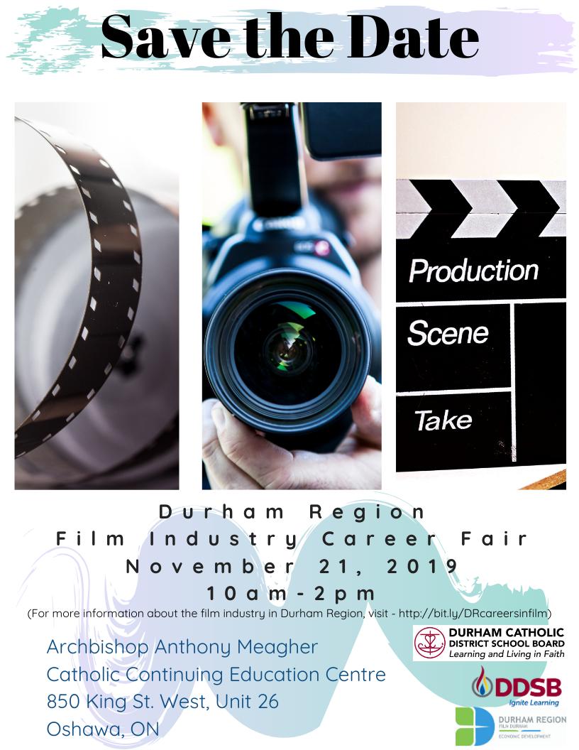 Career fair poster for Durham Region Film Industry
