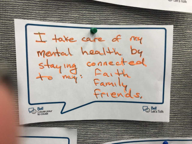 I take care of my mental health by staying connected to my faith, family and friends