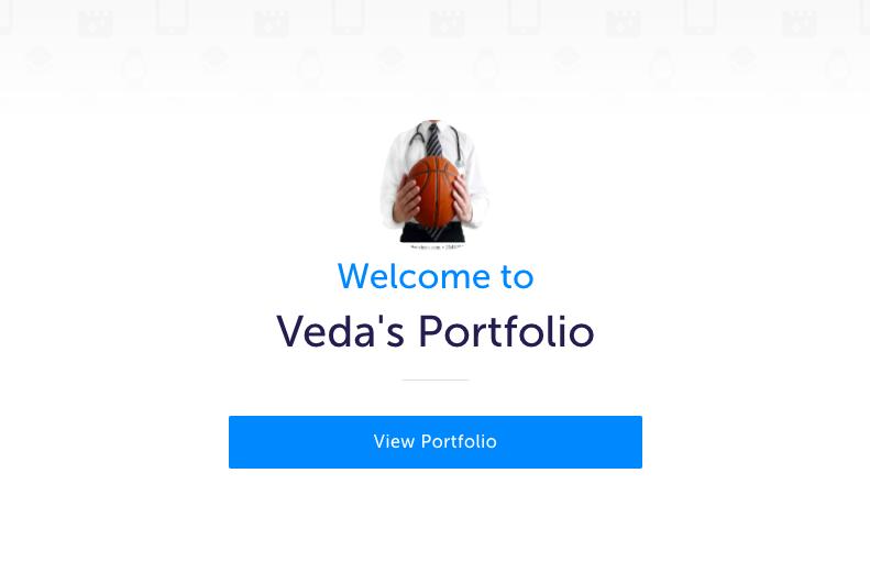 Landing page for Veda's MyBlueprint portfolio