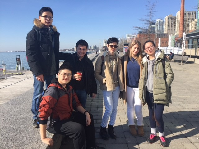 International students getting ready to go skating in Toronto