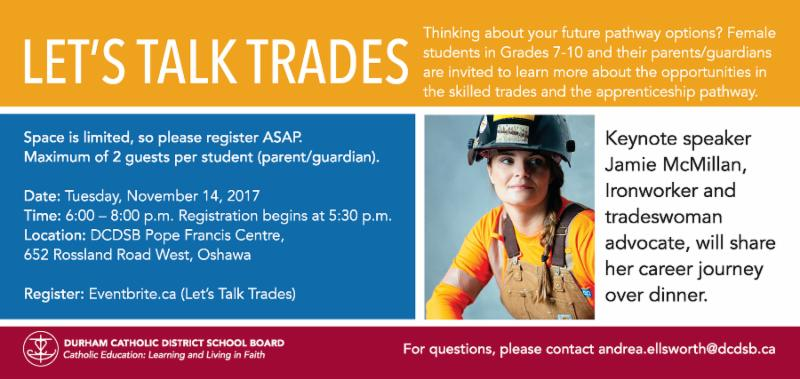 Flyer that promotes Let's Talk Trades dinner for Grade 7-10 female students and parents on November 14 over dinner.