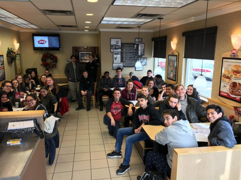 Students sitting in the restaurant at Dairy Queen