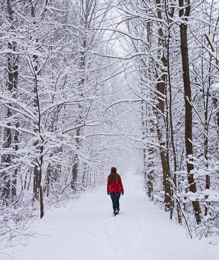 Person wearing a red coat walking in the snow