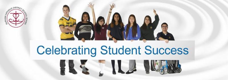 Board logo and seven students holding Celebrating Student Success banner