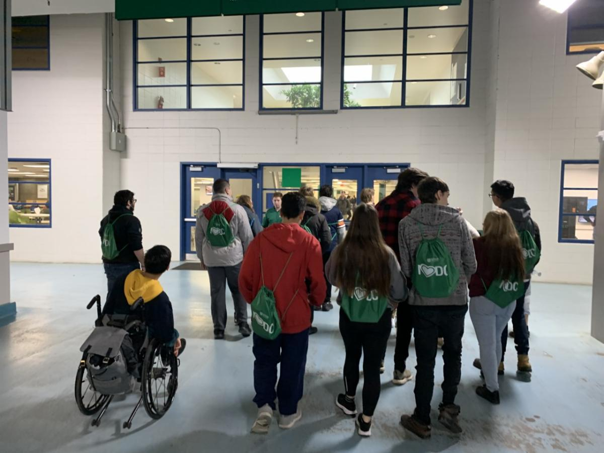 High school students touring the Whitby campus of Durham College
