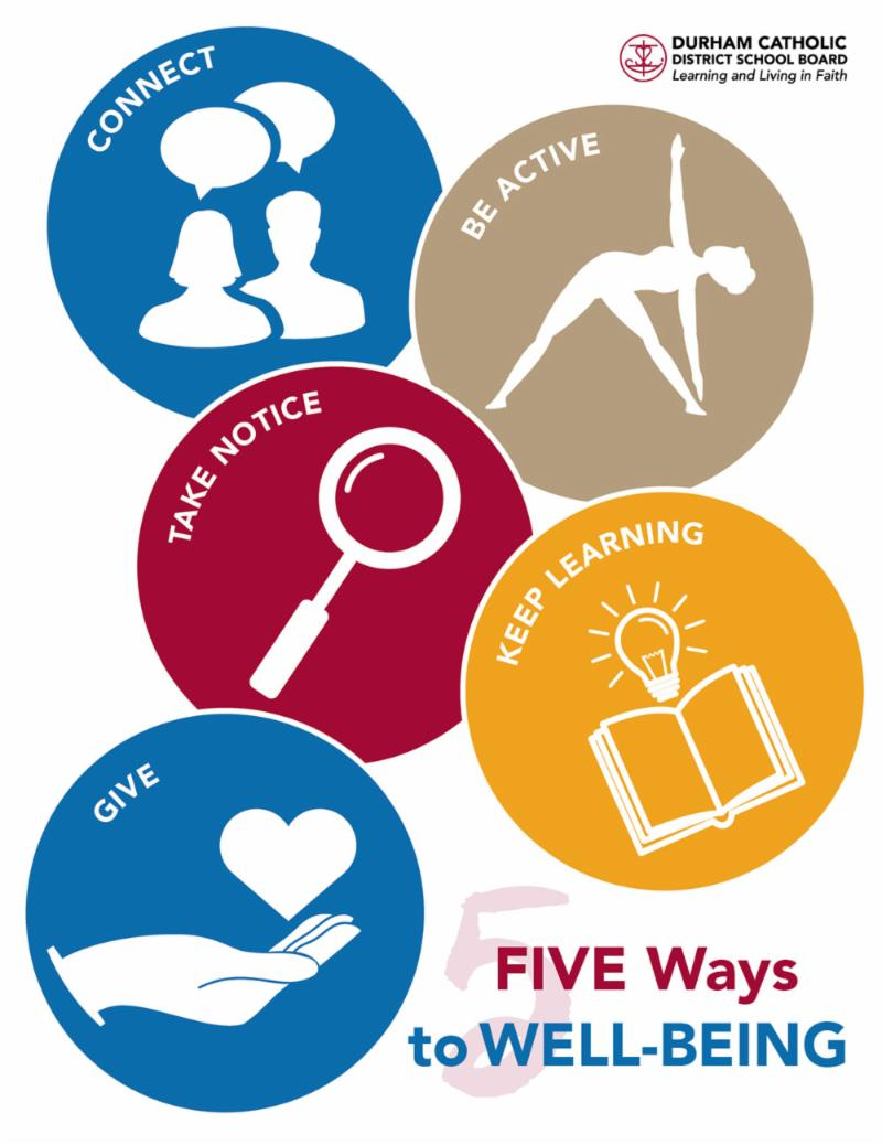 Five way to well being - Connect, be active, keep learning, take notice and give