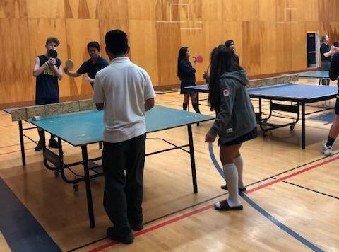 Male and female students playing table tennis